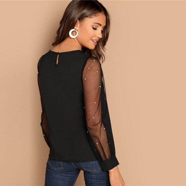 Women's Sheer Design Beaded Blouse