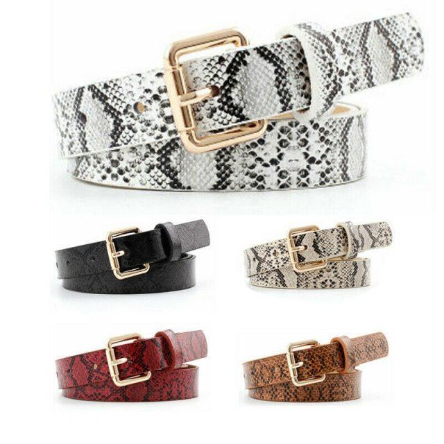 Women's Snake Printed Leather Belt