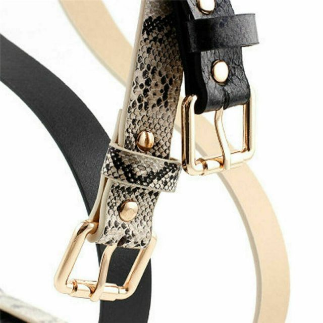Women's Snake Printed Leather Belt