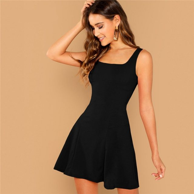 Women's Black Fit And Flare Mini Dress