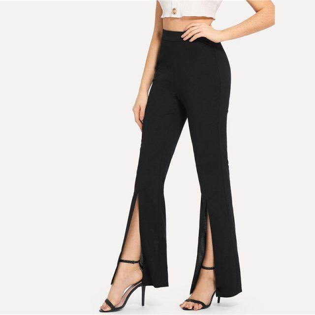 Women's Split Design Black Leggings