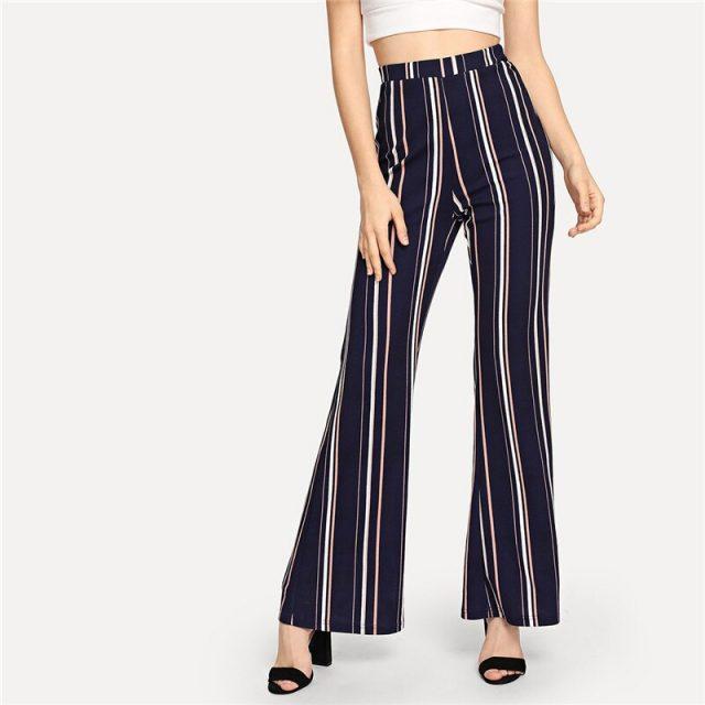 Women's Striped Flare Pants